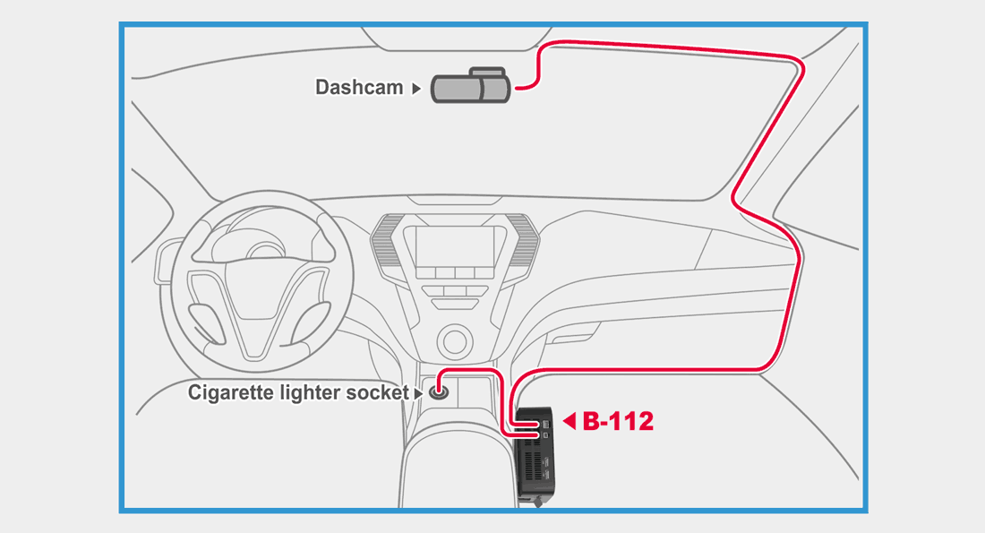 دوربین خودرو مجهز به باطری پشتیبان B-112 blackvue-parking-mode-b-112-power-magic-battery-pack-diy-diagram-installation-1100x595